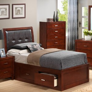 hoytville upholstered storage platform bed - Cherry Bed Frame