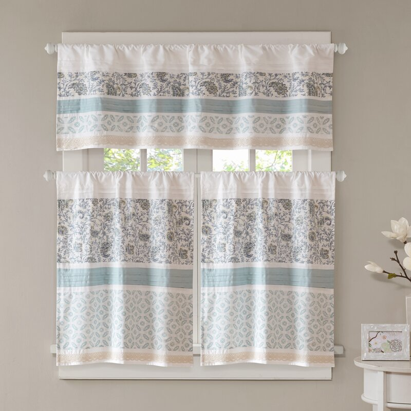 August Grove Chambery Printed And Pieced Rod Pocket Kitchen Curtains & Reviews