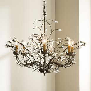 West Oak Lane Crystal And Iron 6 Light Chandelier