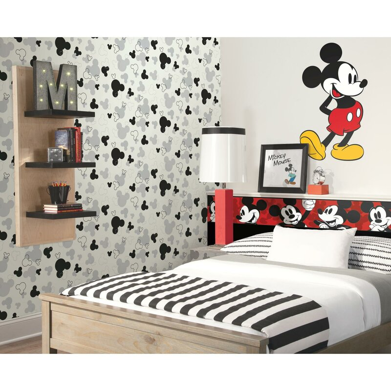 York Wallcoverings Disney Kids III Classic Mickey Mouse 15\' x 1.5 ...