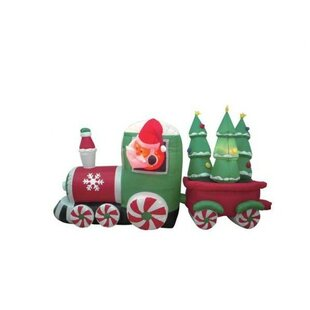 Christmas Inflatable Santa Claus Driving Train Decoration