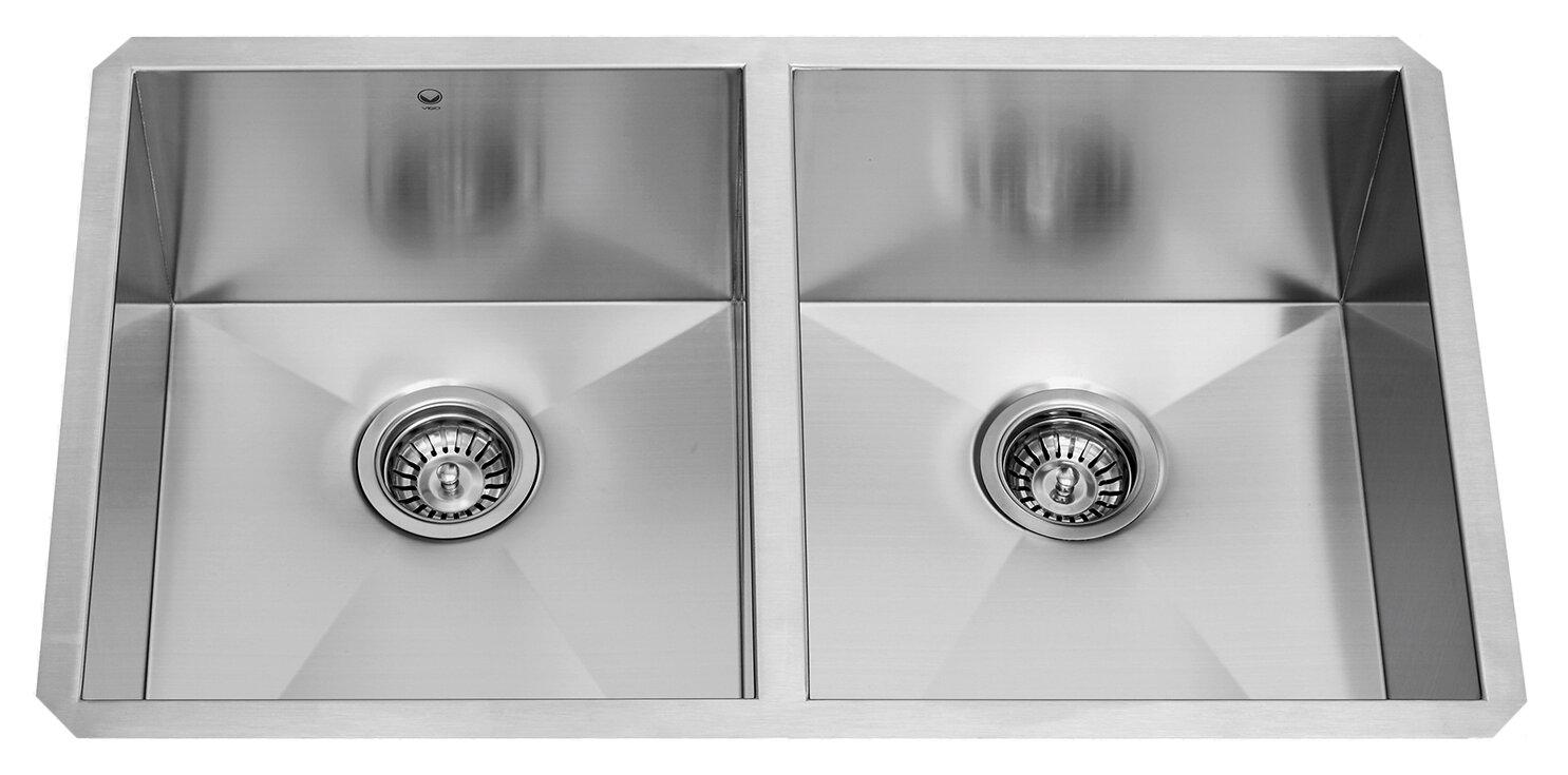 Alma 32 Inch Undermount 50/50 Double Bowl 16 Gauge Stainless Steel Kitchen  Sink