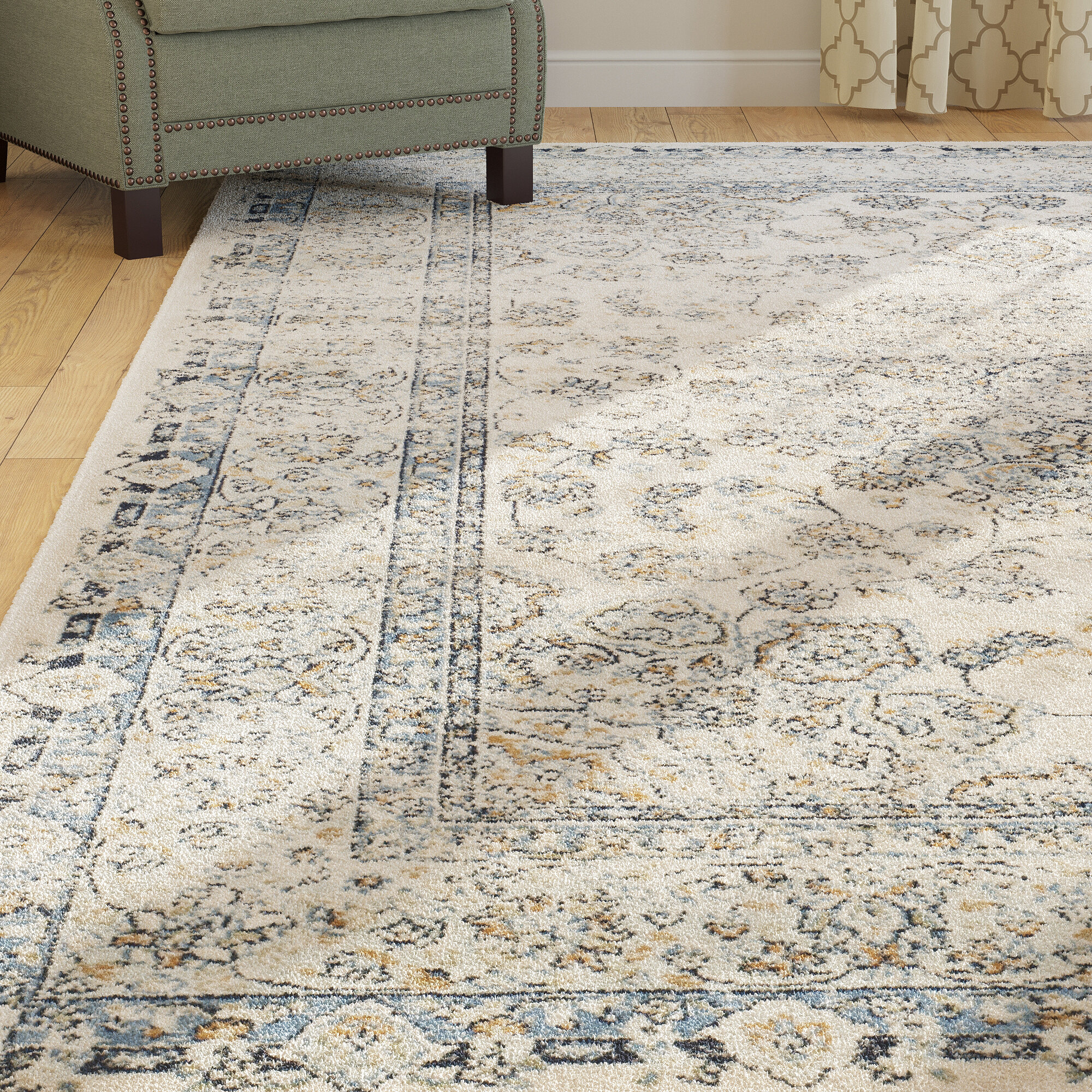 Darby Home Co Persian Garden Vintage Ivory Light Blue Area Rug