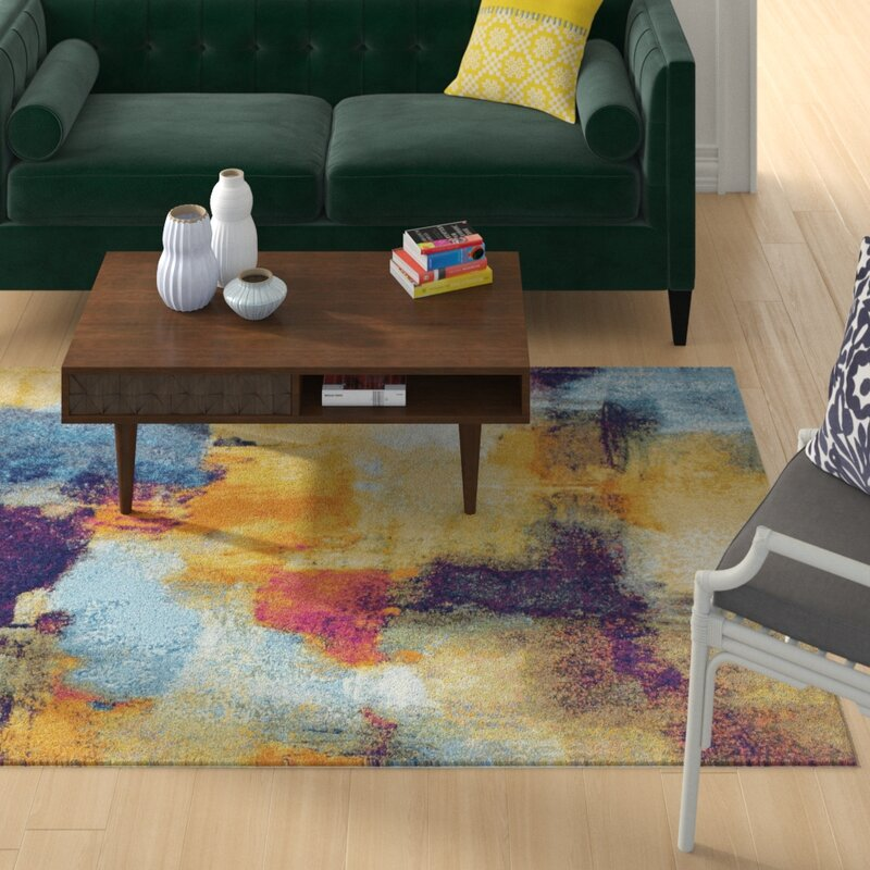 Wrought Studio Reasor Blue/Yellow Area Rug, Size: Rectangle 76 x 96