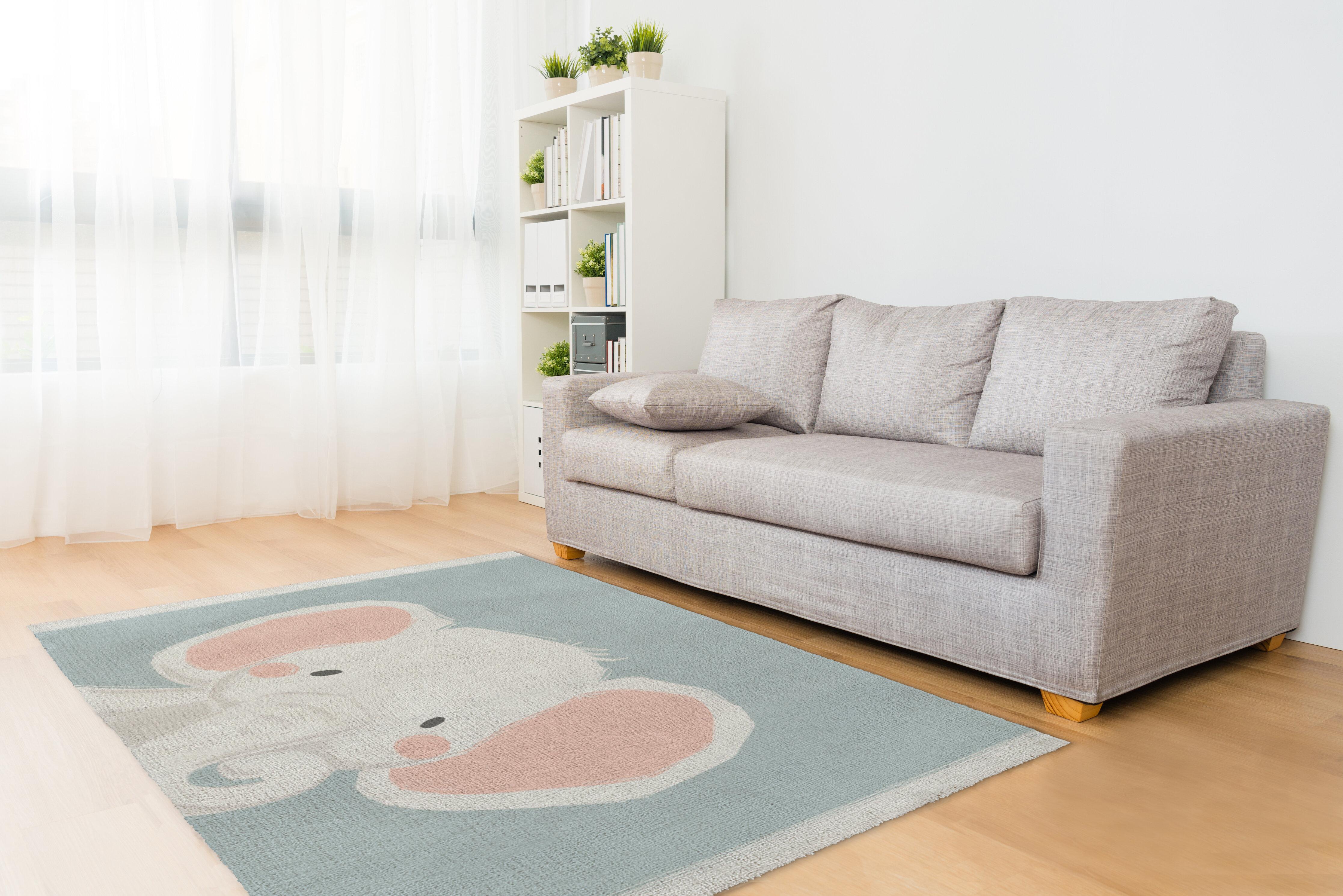 Kavka Elephant Orange/White/Green Area Rug | Wayfair