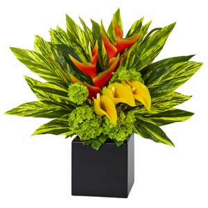 Silk Heliconia and Calla Lilies Vibrant Floral Arrangement in Planter