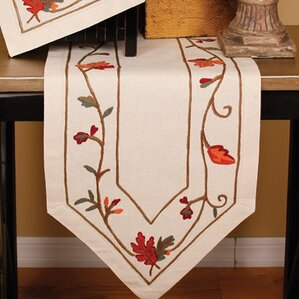 Lovely Harvest Vine Crewel Embroidered Harvest Table Runner