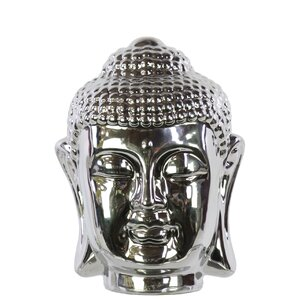 Ceramic Buddha Head Chrome Silver