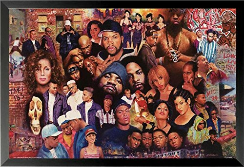 'Legends of Rap and Hip Hop 80's and 90's' Framed Graphic Art Print Poster