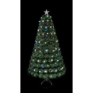 twilight green artificial christmas tree with multi coloured lights with stand