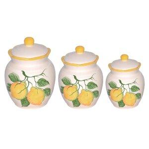 Lemon 3 Piece Kitchen Canister Set