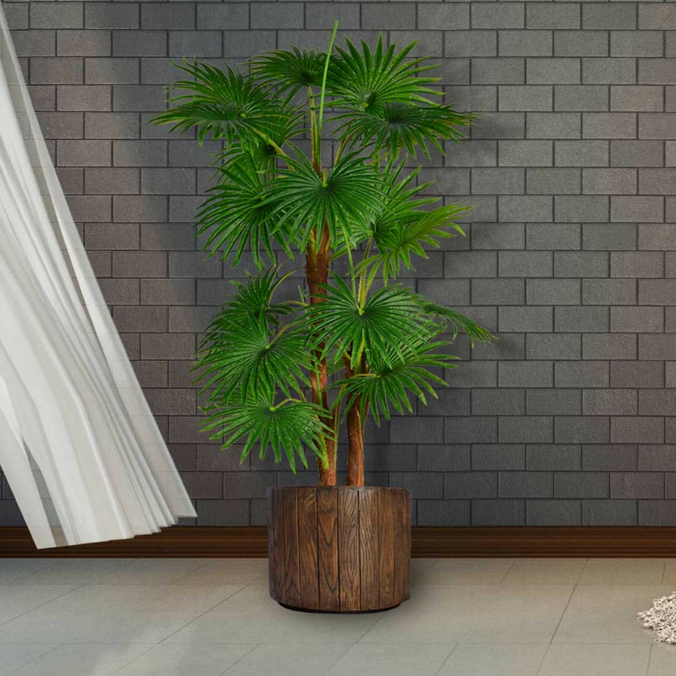 Loon Peak Artificial Indoor Outdoor Décor Floor Palm Tree In Planter Wayfair