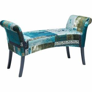 Gepolsterte Schlafzimmerbank Motley Blue Hour aus Holz von KARE Design
