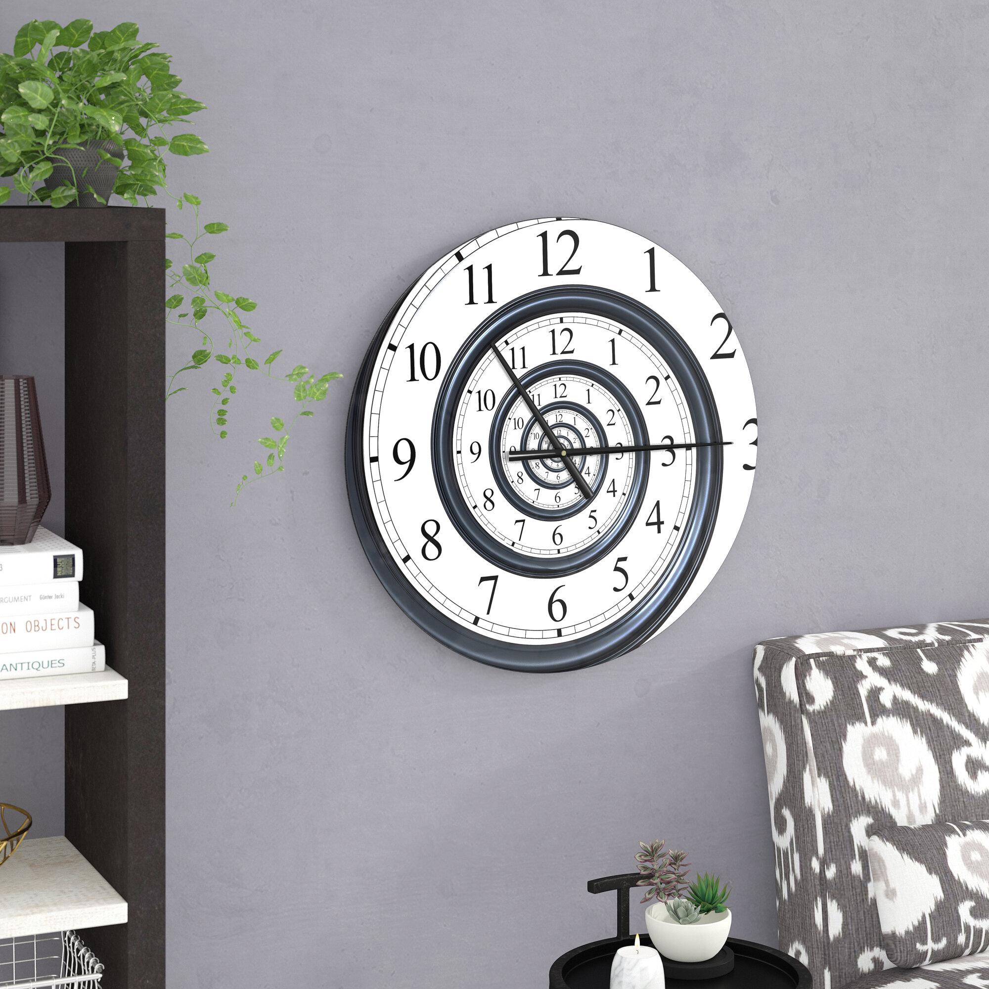 East urban home modern designart time spiral analog wall contemporary wall clock reviews wayfair