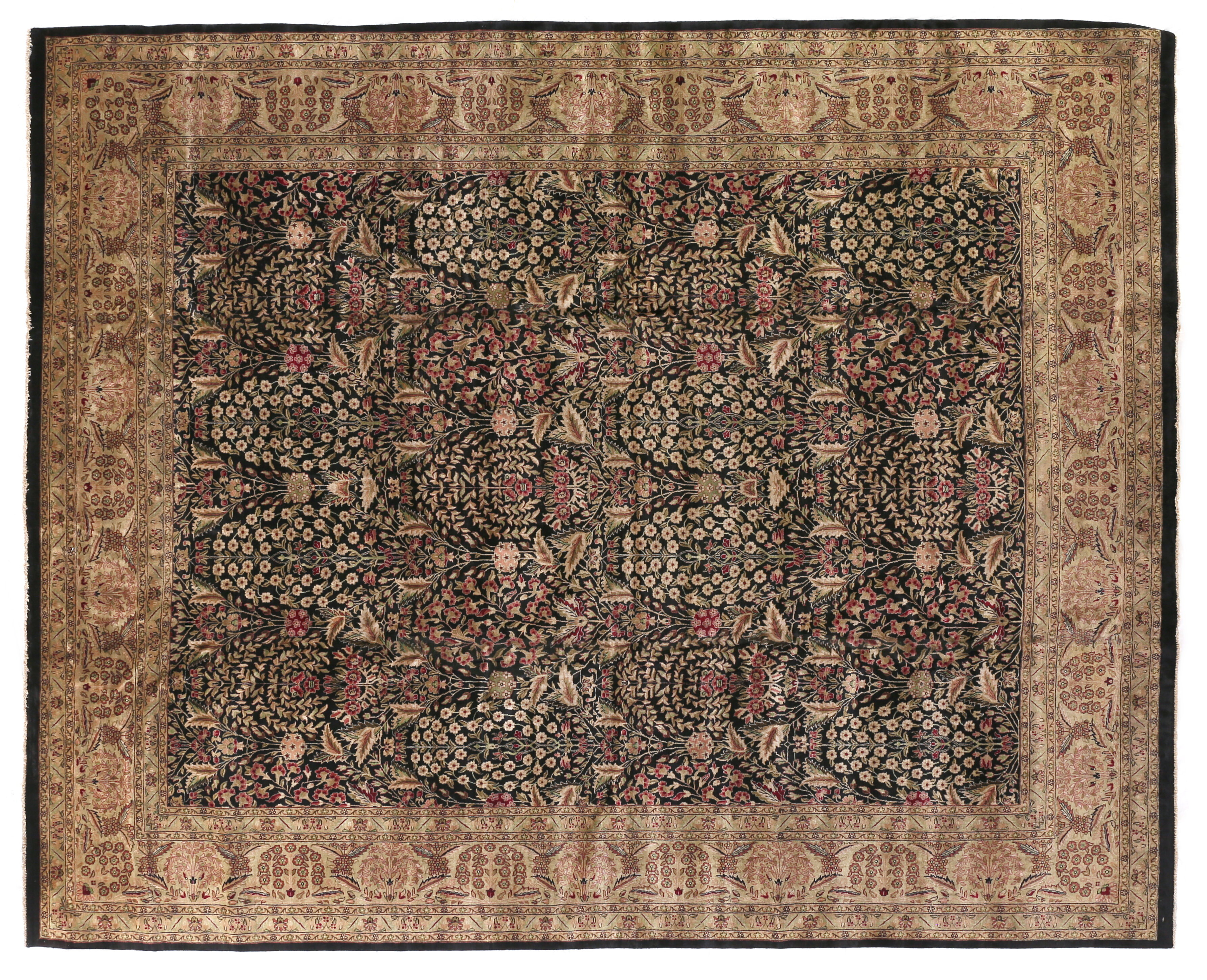 Exquisite Rugs Traditional Hand Knotted Wool Black Green Area Rug
