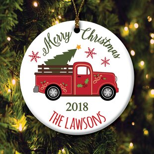 529acbd877bb Personalized Christmas Truck Shaped Ornament. By The Holiday Aisle