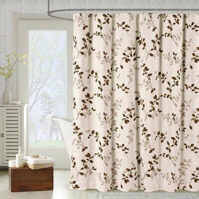 Bath Studio Meridian Printed Cotton Blend Single Shower Curtain Color: Taupe
