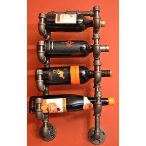 Darcie Industrial Pipe 4 Bottle Wall Mounted Wine Bottle Rack by 17 Stories