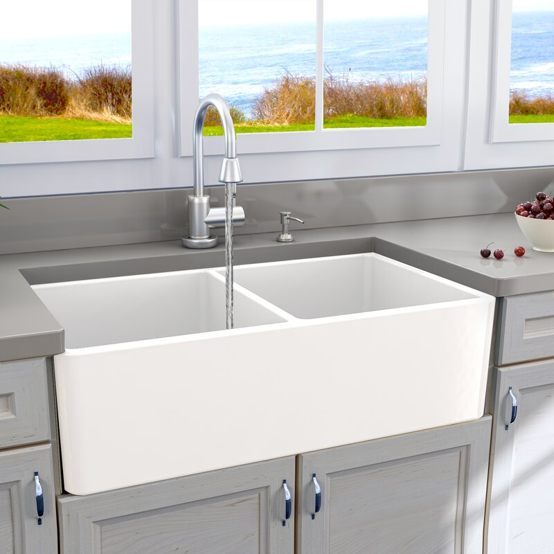 Cape 33 x 18 double basin farmhouse kitchen sink reviews allmodern cape 33 x 18 double basin farmhouse kitchen sink workwithnaturefo