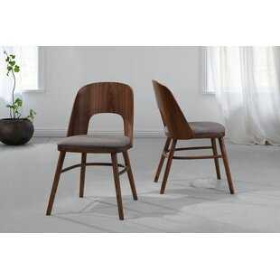 Dana Upholstered Dining Chair with Wood Seat Back (Set of 2)