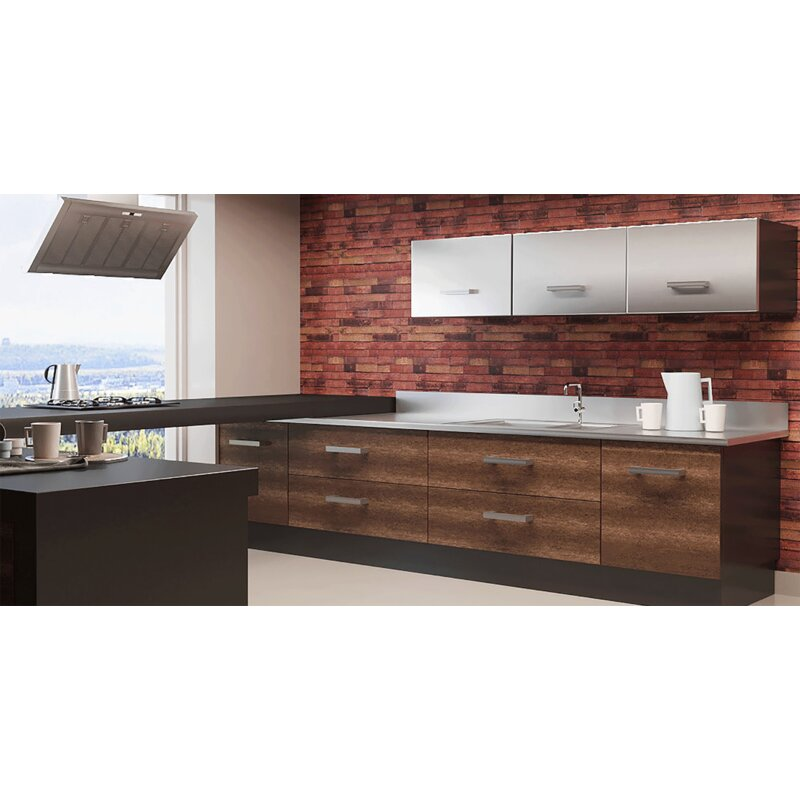 "Keven Vanilla Wood 16.4' L x 23.6"" W 3D Embossed Peel and Stick Wallpaper"