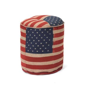 Magnolia Stars and Stripes Pouf Ottoman by August Grove