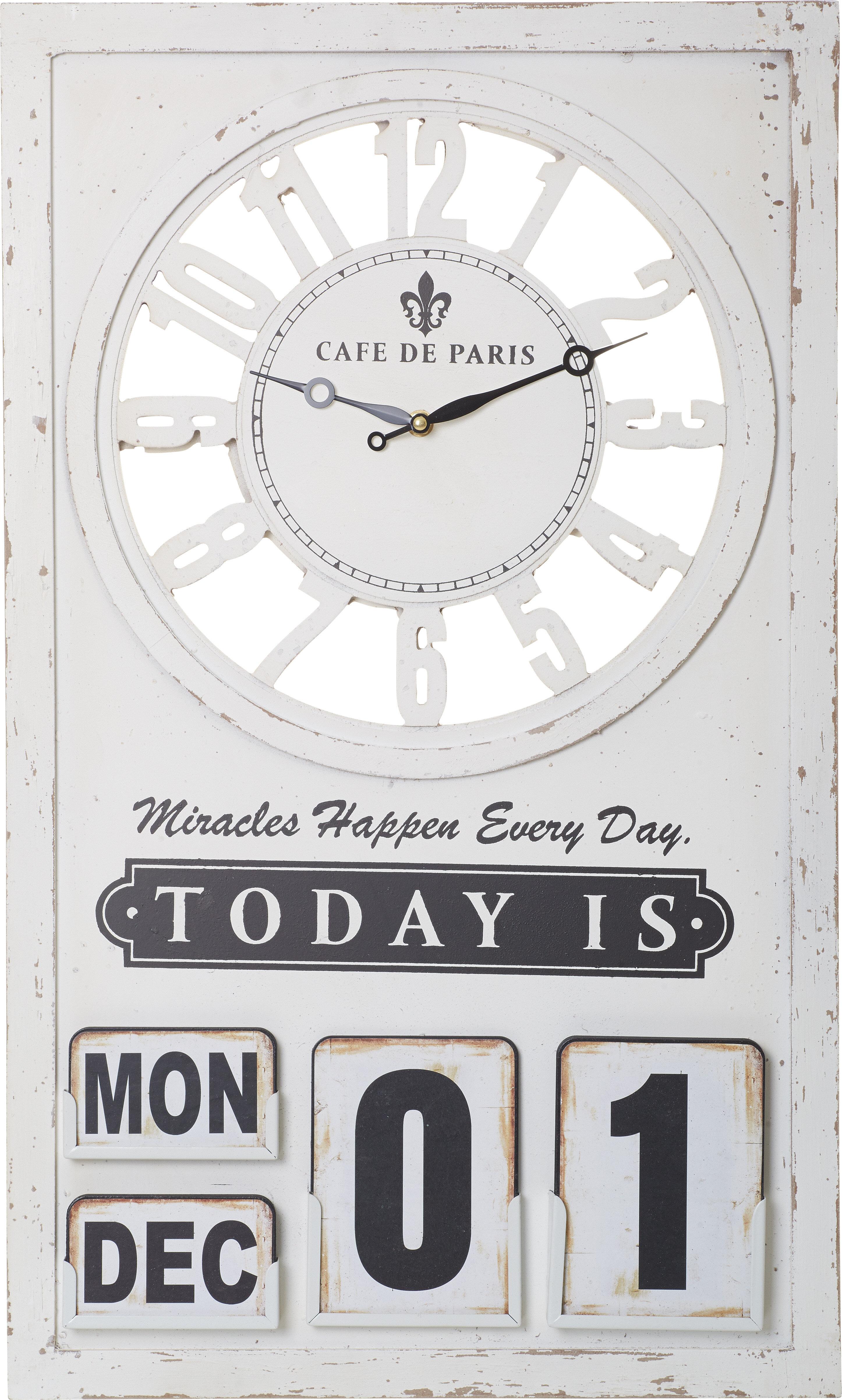 Transpac Cafe De Paris Calendar Wall Clock
