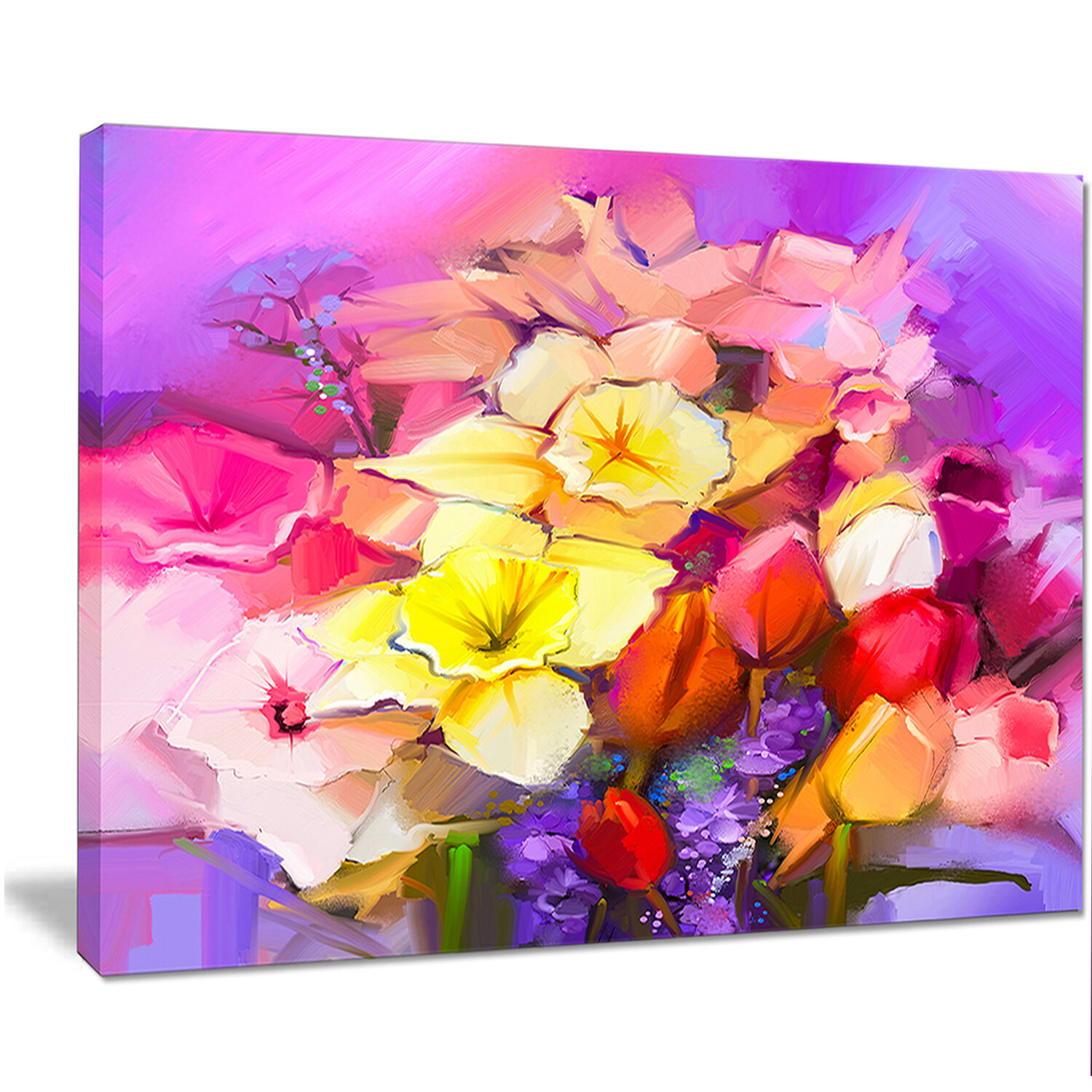 Designart bouquet of daffodil and tulip flowers painting print on designart bouquet of daffodil and tulip flowers painting print on wrapped canvas wayfair izmirmasajfo