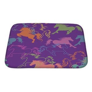 Animals of Racing Colorful Horses Bath Rug