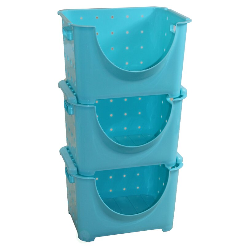Basicwise Stackable Plastic Storage Container Stacking