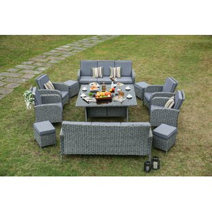 Hofstra 12 Piece Wicker Patio Dining Set With Cushions