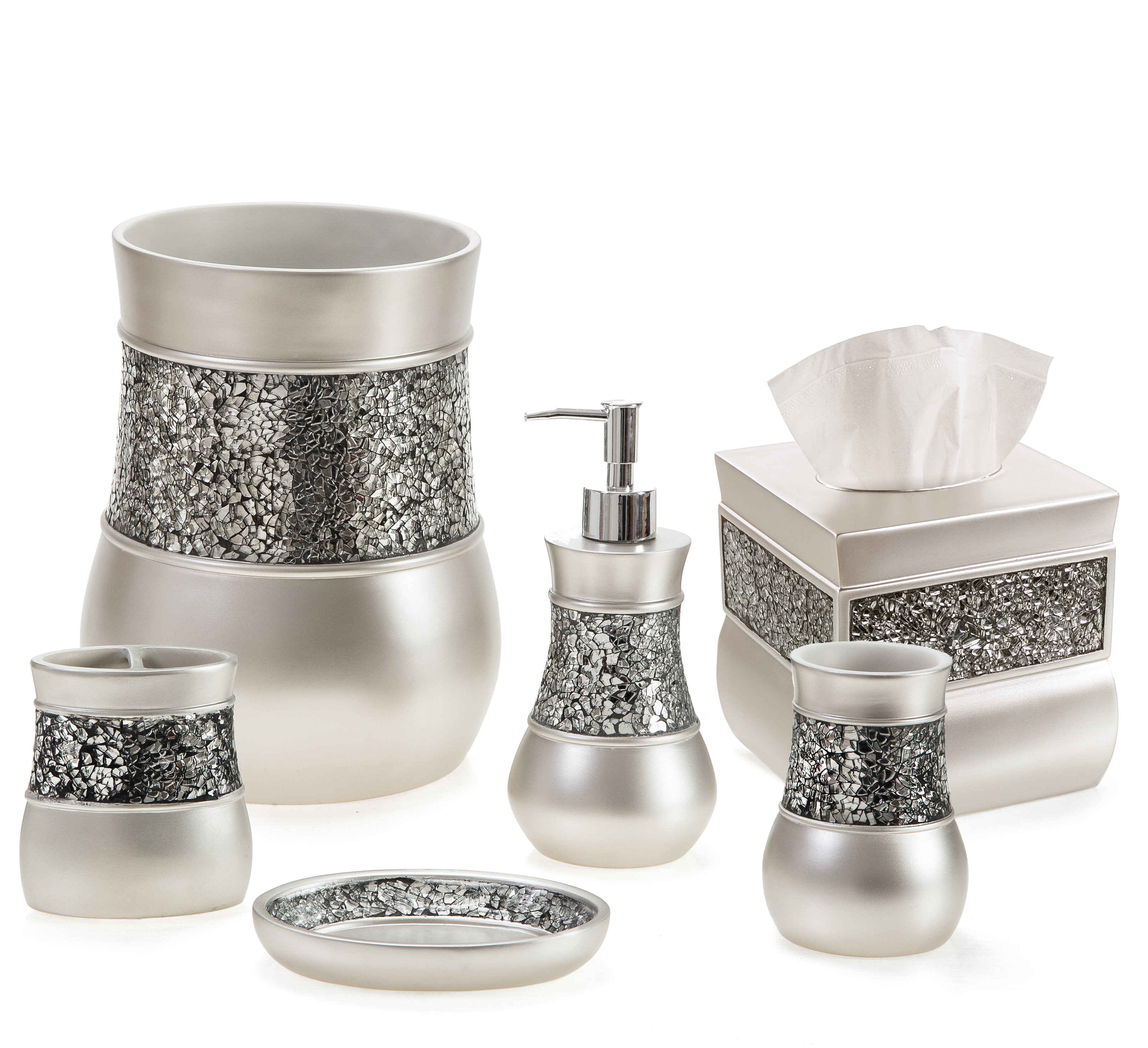 Everly Quinn Keira Brushed Nickel 6 Piece Bathroom Accessory Set