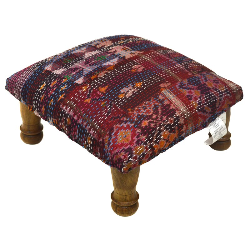 Divine DesignsKantha Stitched Ikat Ottoman