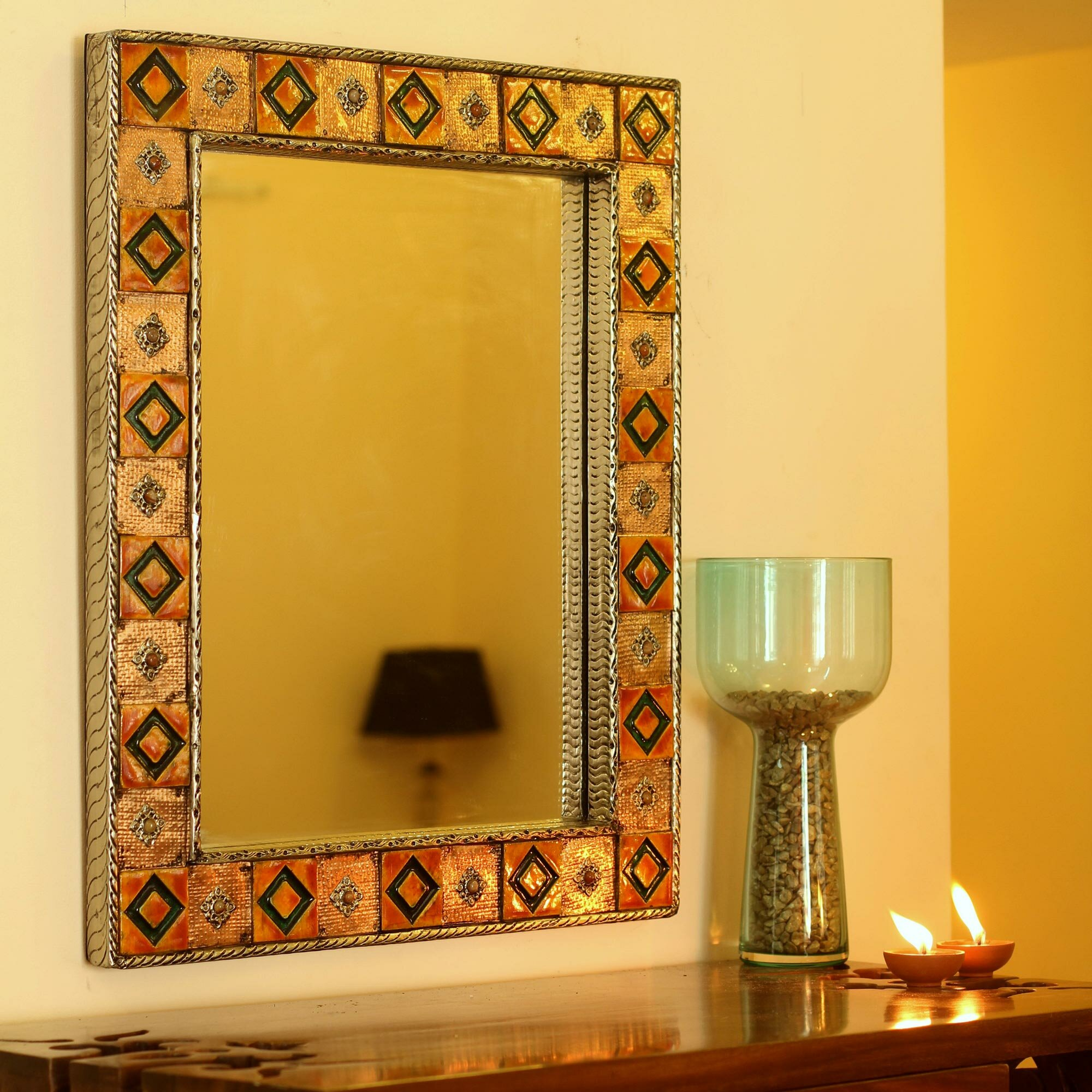 Novica Repoussé Copper Mirror | Wayfair