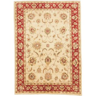 Frohna Hand Knotted Wool Beige/Red Rug by Rosalind Wheeler