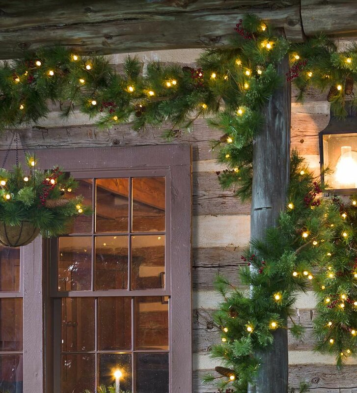 outdoor holiday lighting timer. lighted outdoor battery operated holiday garland with auto timer lighting