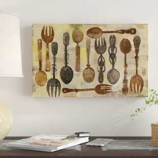 u0027Spoons and Forksu0027 Print on Wrapped Canvas & Knife Fork Spoon Wall Art | Wayfair
