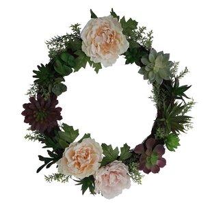 Pink floral wreath wayfair 18 floral succulent wreath mightylinksfo