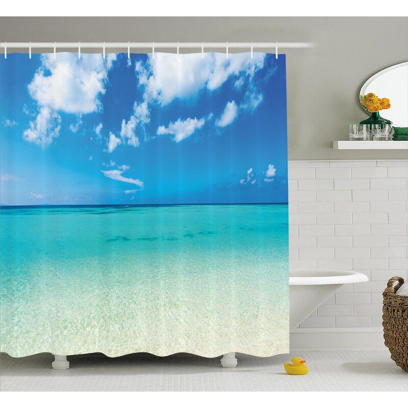 Ebern Designs Faye Ocean Dreamy Sea Beach Shower Curtain & Reviews ...