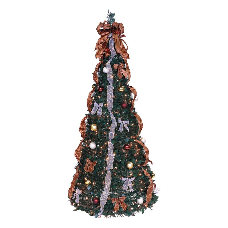 Pop Up 6u0027 Green Artificial Christmas Tree With 350 Lights