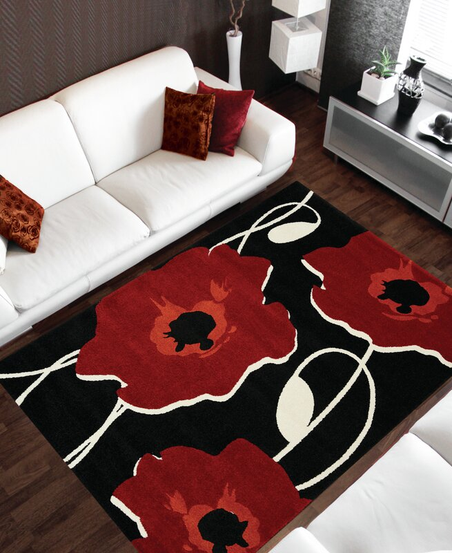 Black And Red Area Rugs red barrel studio lyme black/red area rug & reviews | wayfair
