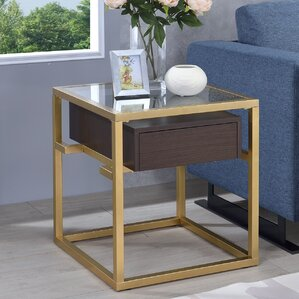 Danyel Rectangular Glass End Table by Everly..