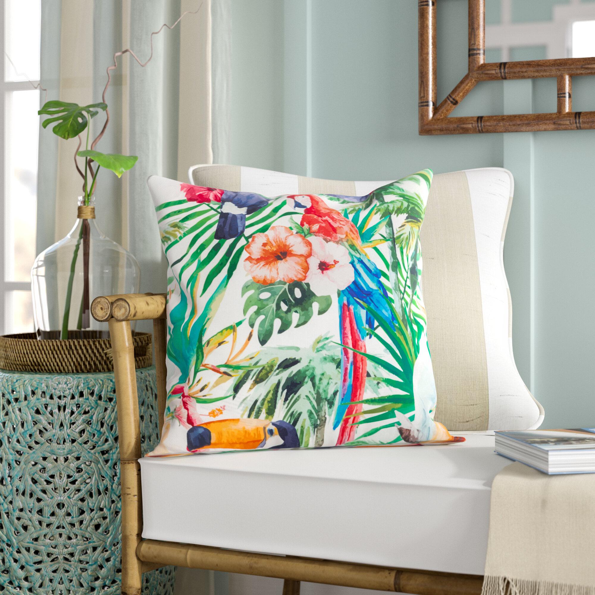 Sherwick Tropical Parrot Floral Print Indoor Outdoor Throw Pillow