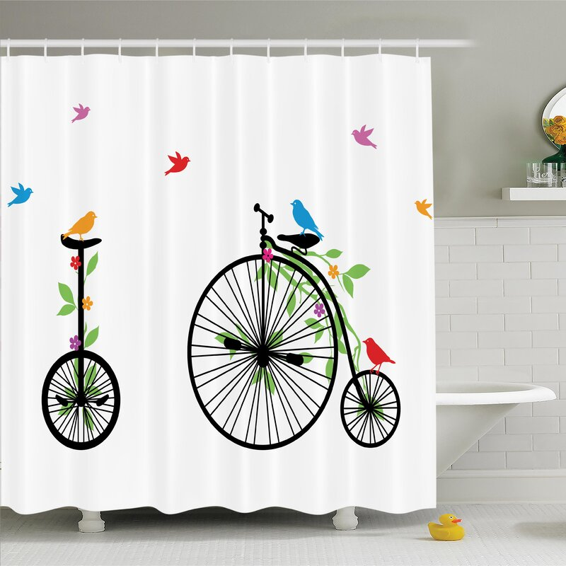 Ambesonne Bicycle Flying Birds Flowers Shower Curtain Set Reviews
