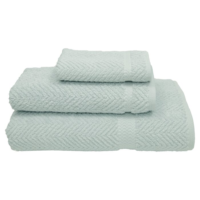 3 Piece Herringbone Towel Set In Aqua