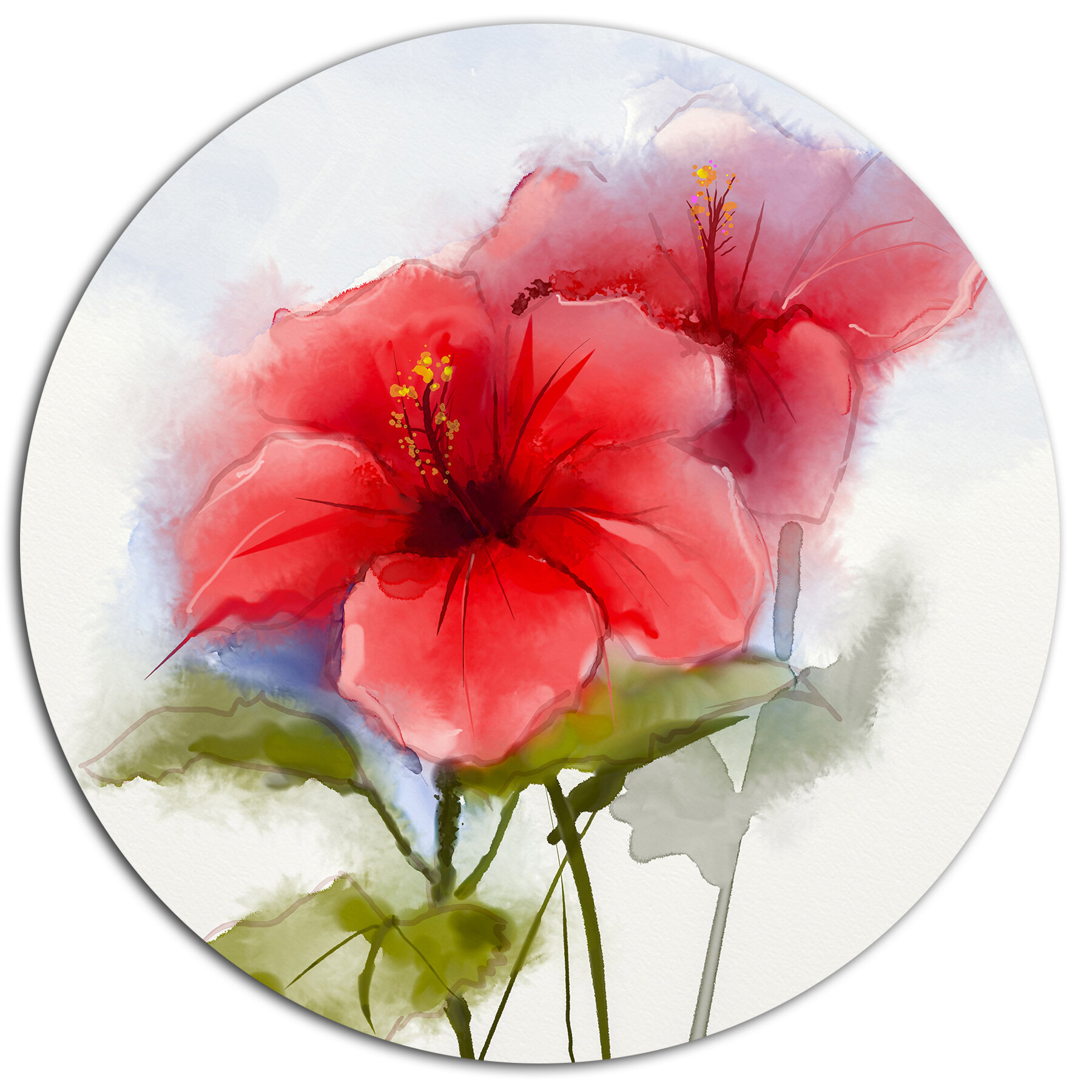 Designart Watercolor Painting Red Hibiscus Flower Oil Painting