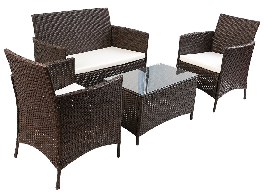 Merax 4 Piece Deep Seating Group with Cushion & Reviews | Wayfair