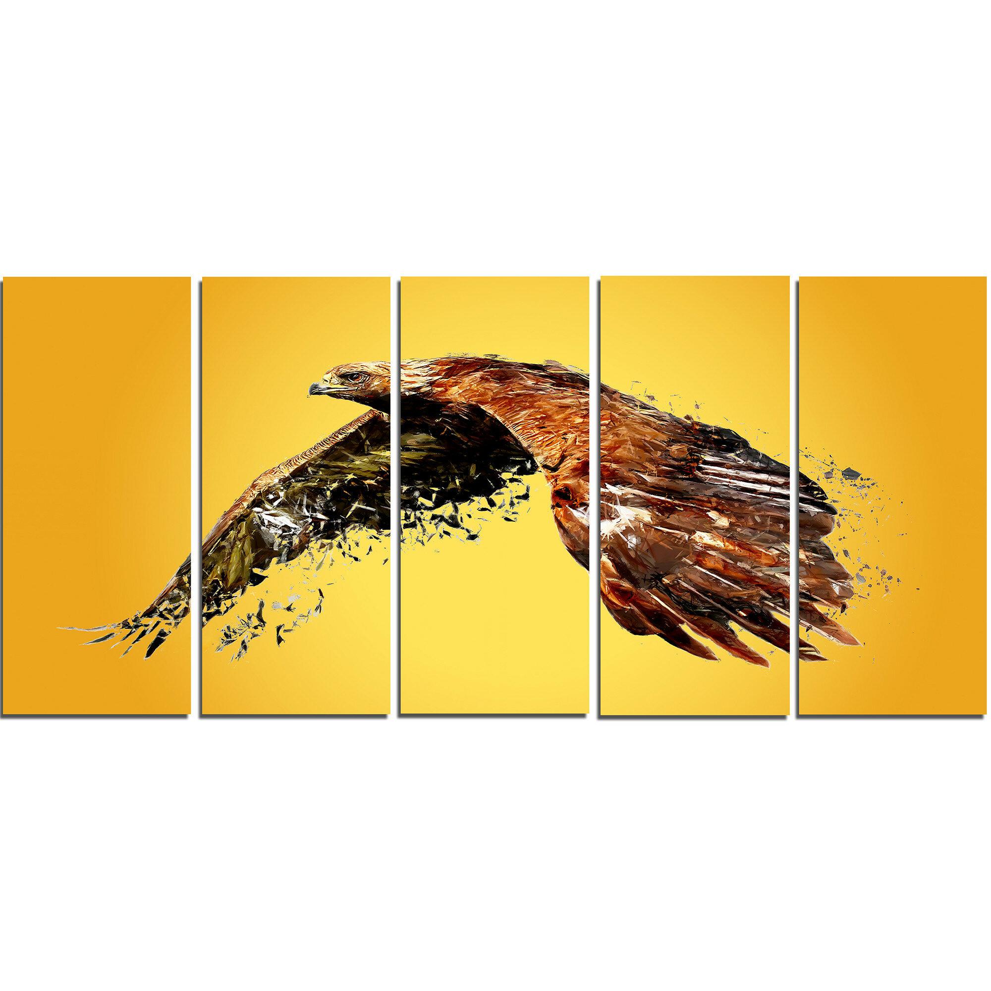DesignArt Metal \'Soaring Eagle\' 5 Piece Graphic Art Set | Wayfair