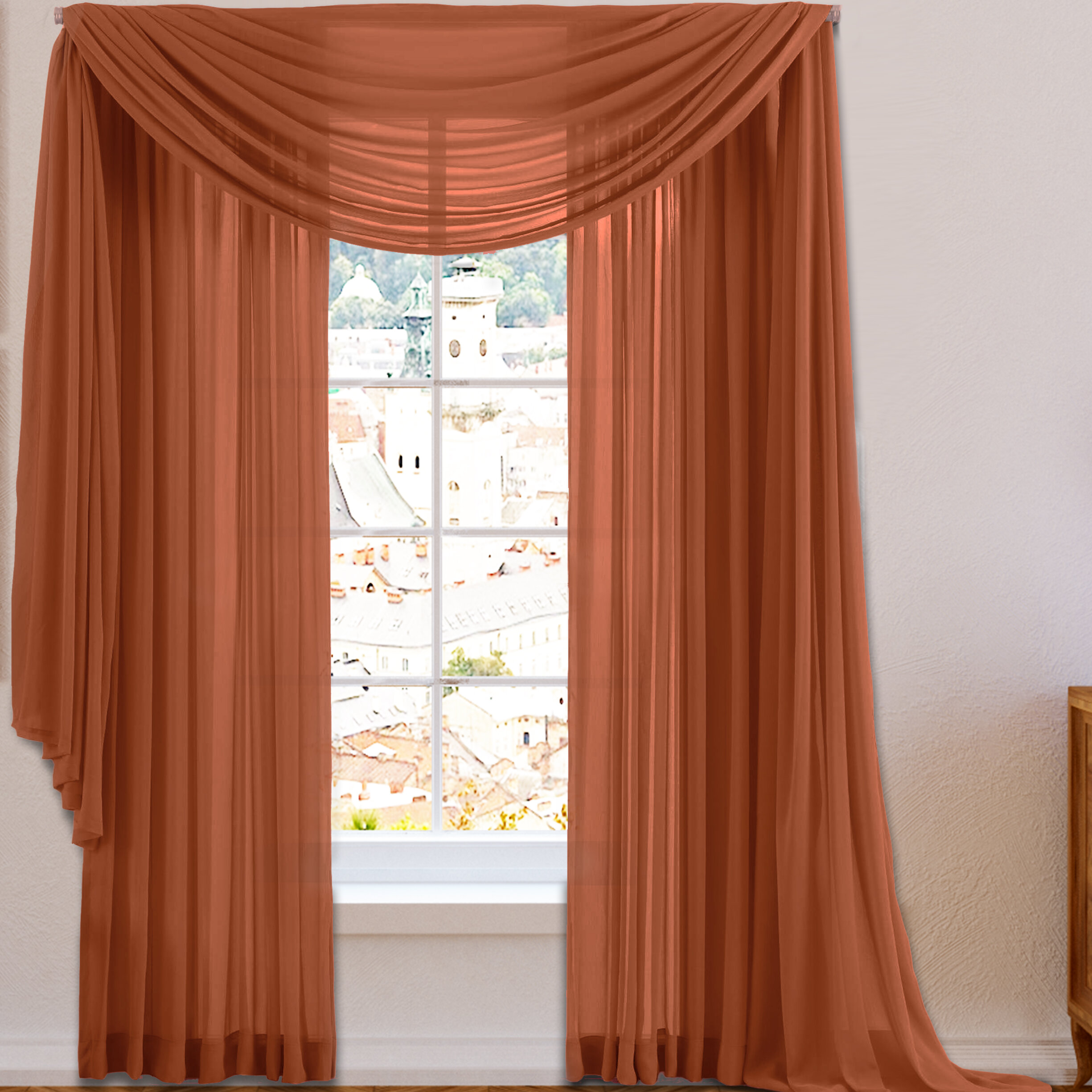 eyelets itm valance sheer drapes curtain pelmets brown cappuccino swag matching pleats coffee with bedroom