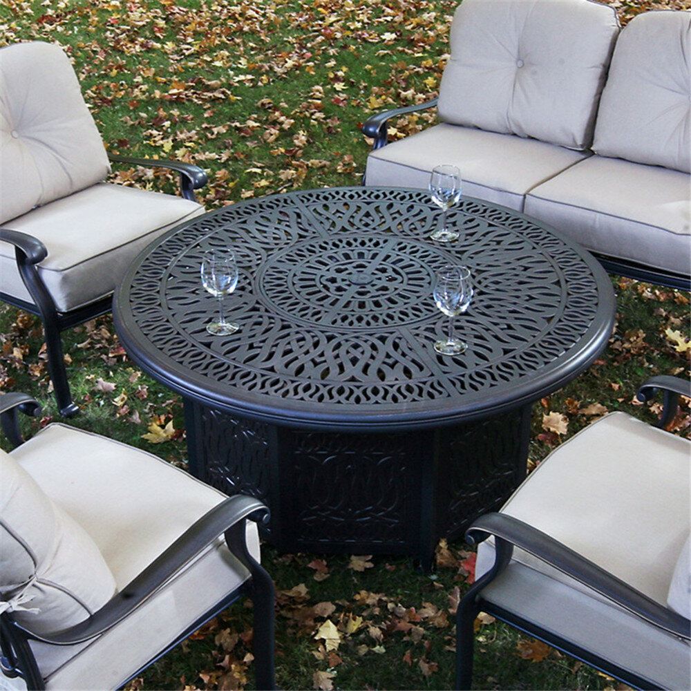 Bean Aluminum Propane Gas Fire Pit Table